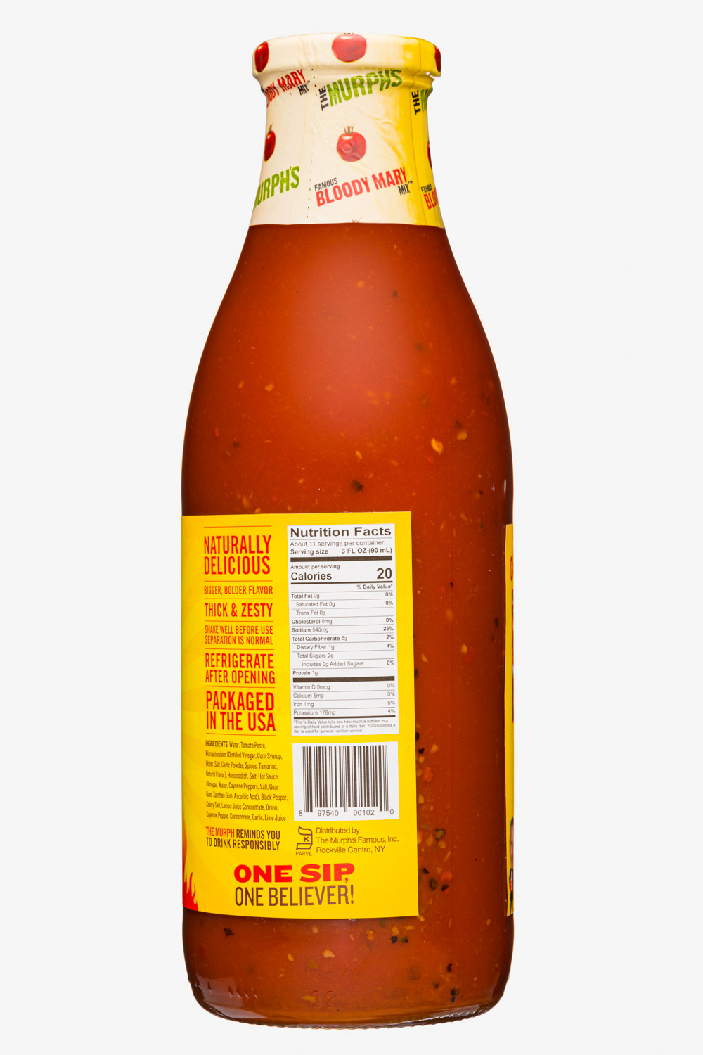 The Murph's Famous Bloody Mary Mix: TheMurphsFamous-34oz-2020-BloodyMaryMix-HotSpicy-Facts