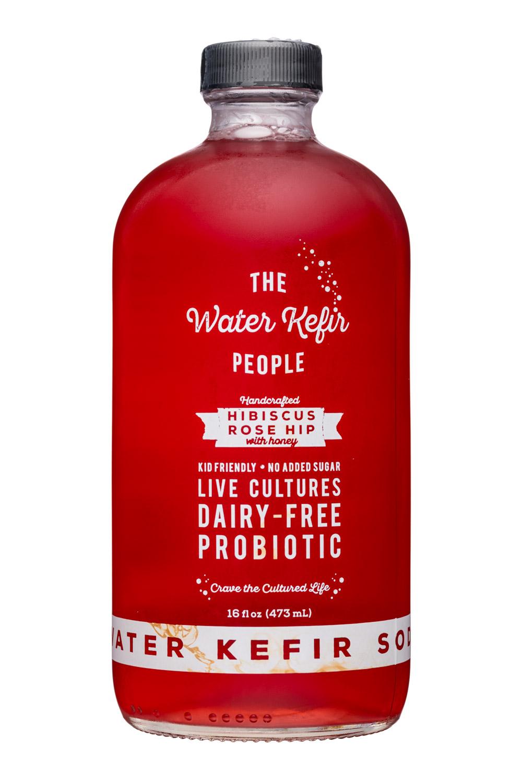 The Water Kefir People: TheWaterKefirPeople-16oz-HibsicusRoseHip-Front