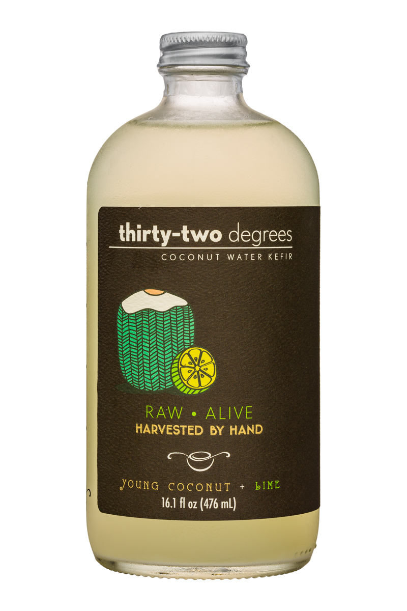 Thirty-Two Degrees: ThirtyTwoDegrees-16oz-CoconutWaterKefir-YoungLime-Front
