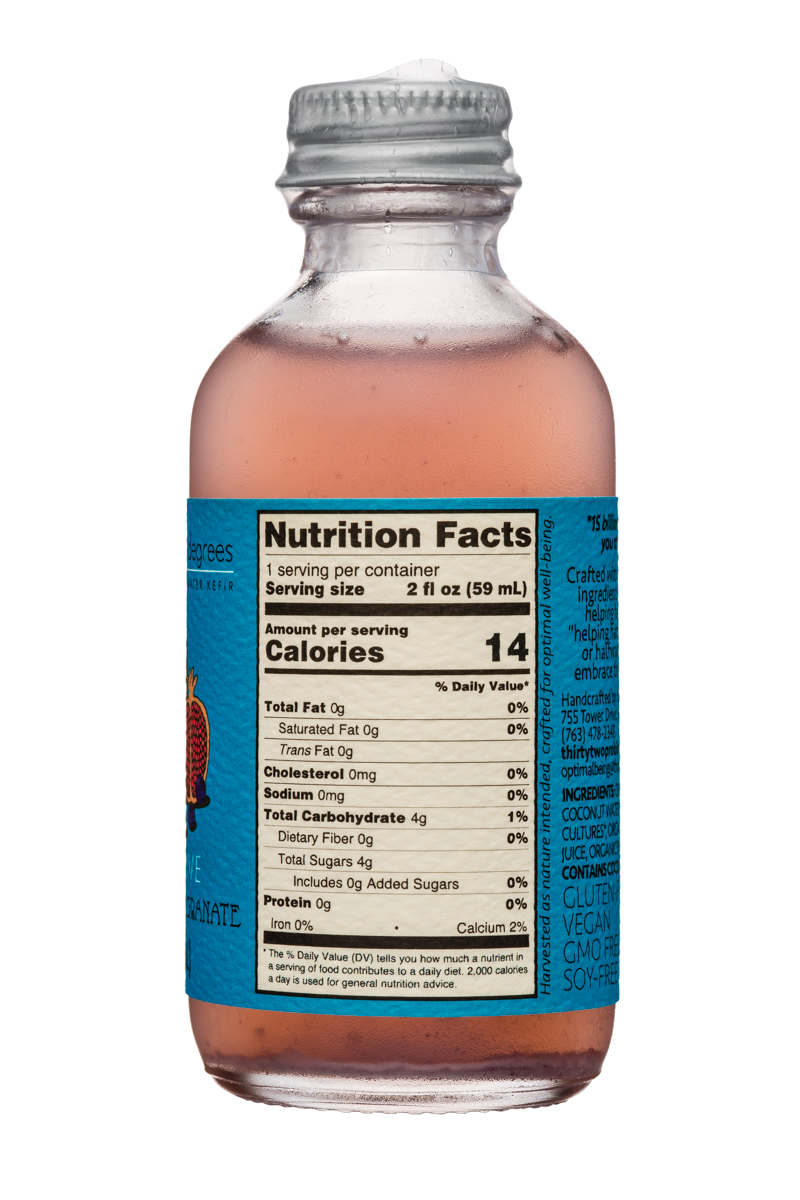Thirty-Two Degrees: ThirtyTwoDegrees-2oz-CoconutWaterKefir-BluebPom-Facts