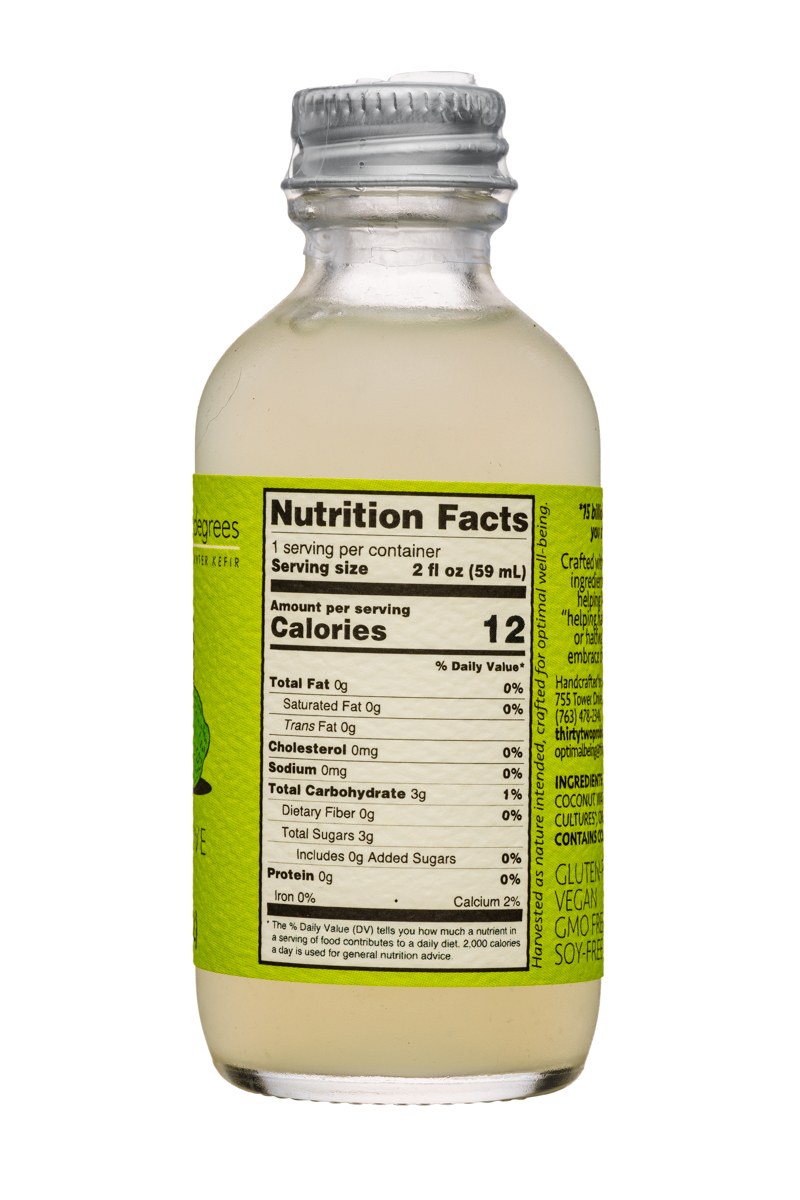 Thirty-Two Degrees: ThirtyTwoDegrees-2oz-CoconutWaterKefir-Lime-Facts