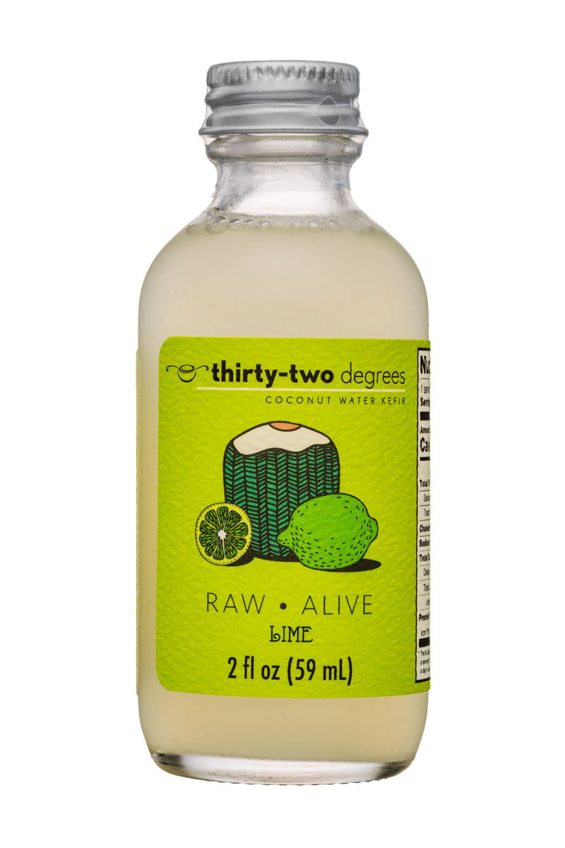 Thirty-Two Degrees: ThirtyTwoDegrees-2oz-CoconutWaterKefir-Lime-Front