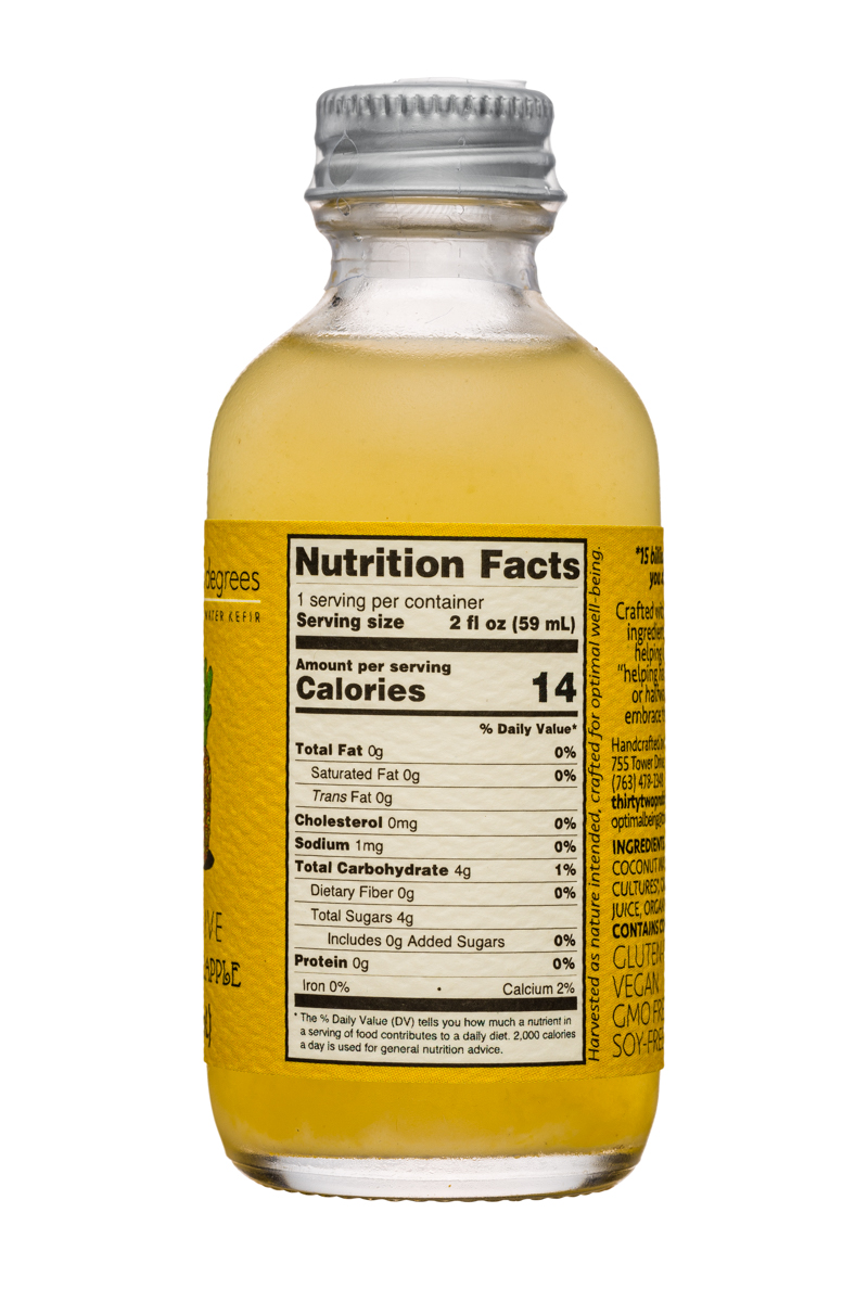 Thirty-Two Degrees: ThirtyTwoDegrees-2oz-CoconutWaterKefir-MangoPineapple-Facts