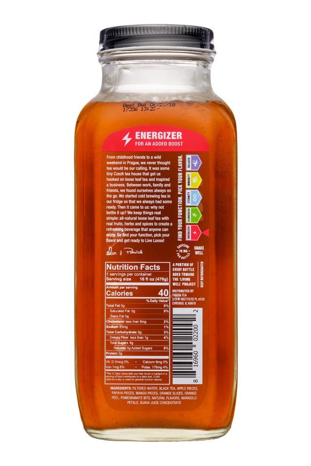 Tiesta Tea Cold Brew: TiestaTea-16oz-ColdBrew-BlackThaiTropical-Energizer-Facts
