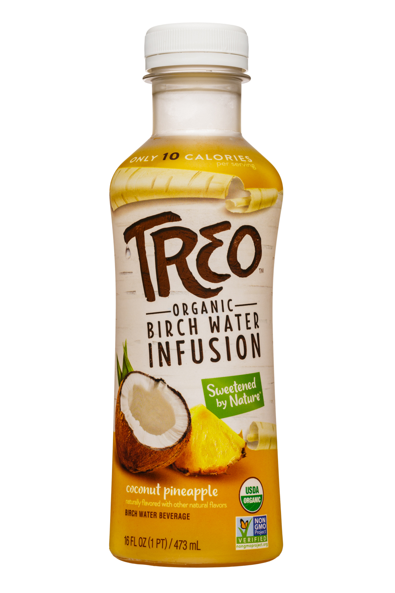 Treo Organic Birch Water Infusion: Treo-BirchWater-16oz-CoconutPineapple-Front