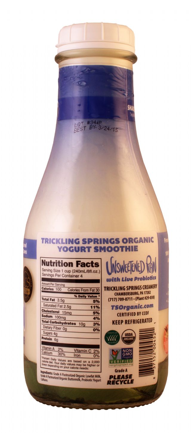 Trickling Springs Organic: TricklingSprings UnsweetPlain Facts