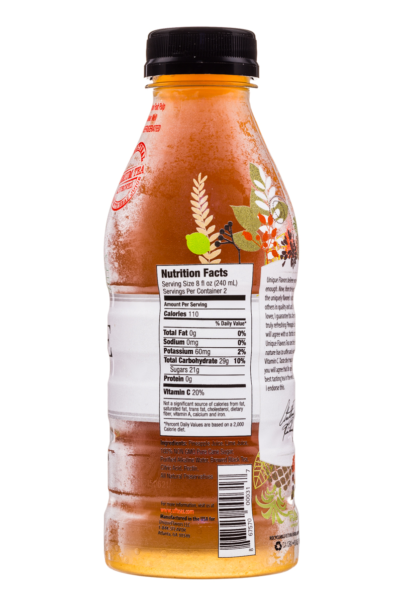 Unique Flavors: UniqueFlavors-16oz-Tea-PineappleLime-Facts