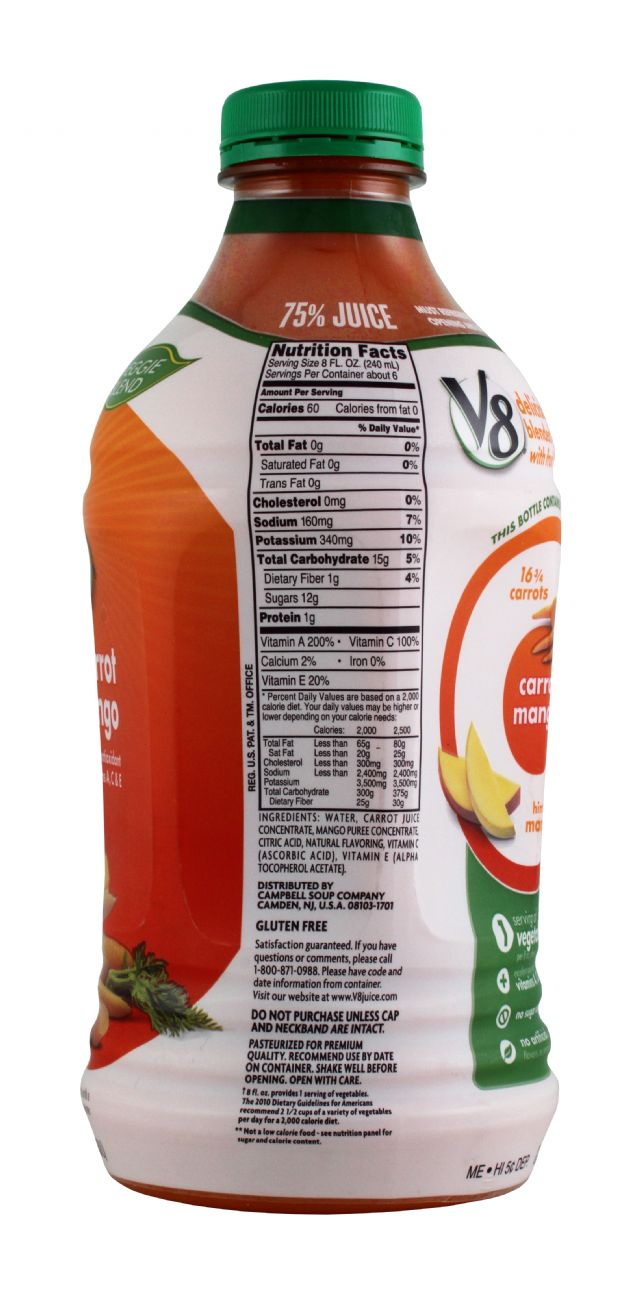 V8 Veggie Blends: V8 CarrotMango Facts