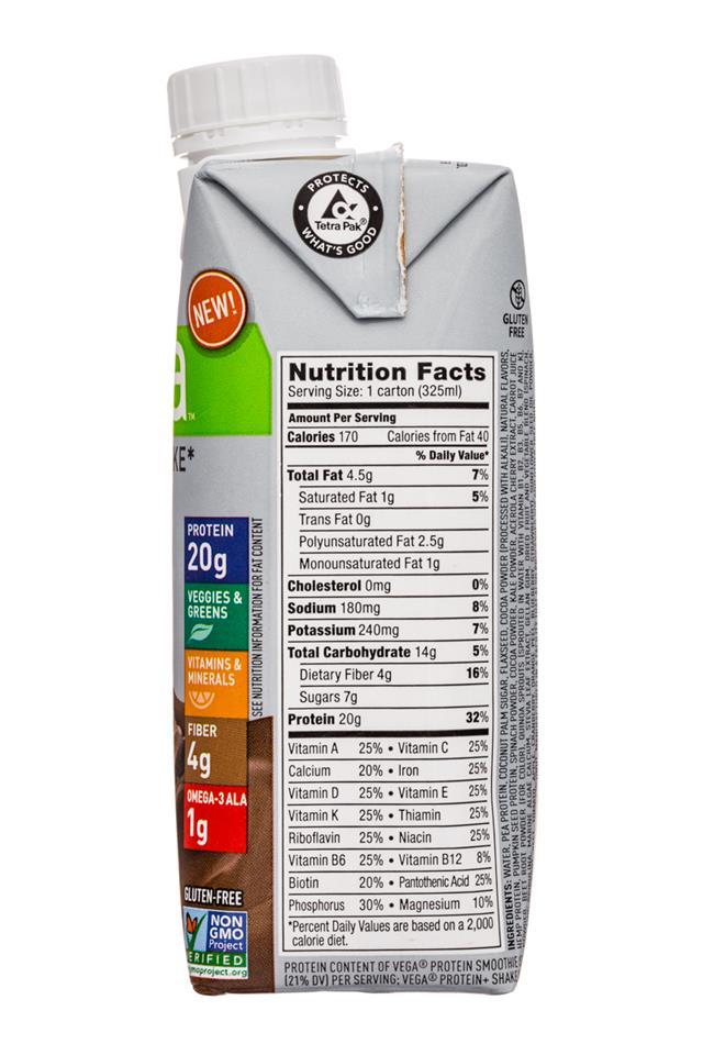 Vega Protein+ Shake: Vega-11oz-ProteinShake-Choc-Facts