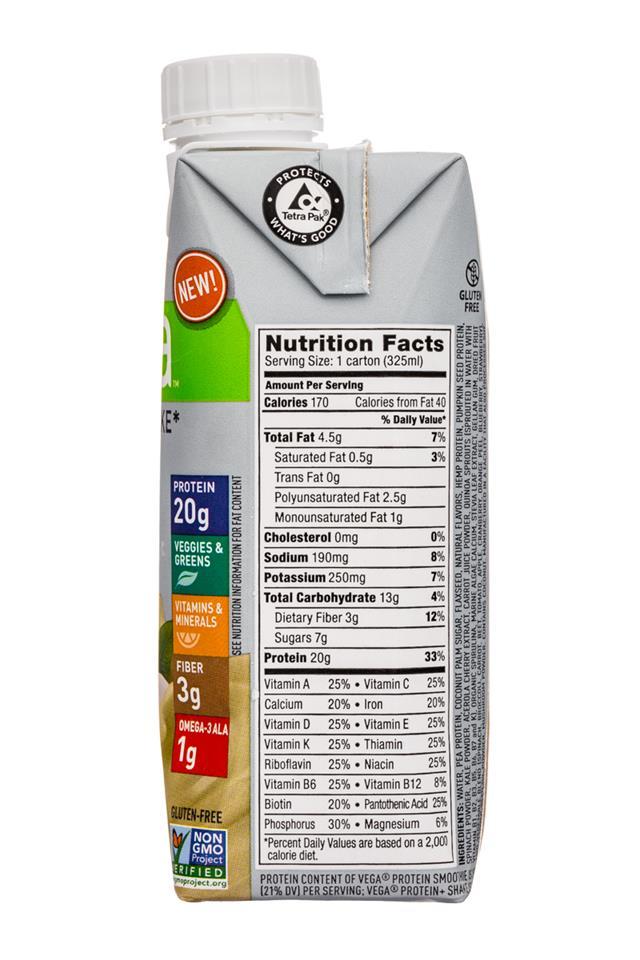 Vega Protein+ Shake: Vega-11oz-ProteinShake-Vanilla-Facts