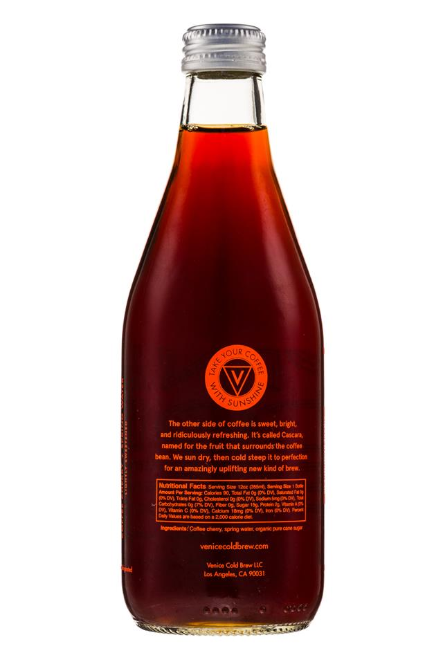 Venice Cold Brew: VeniceColdBrew-12oz-SparklingCascara-Facts