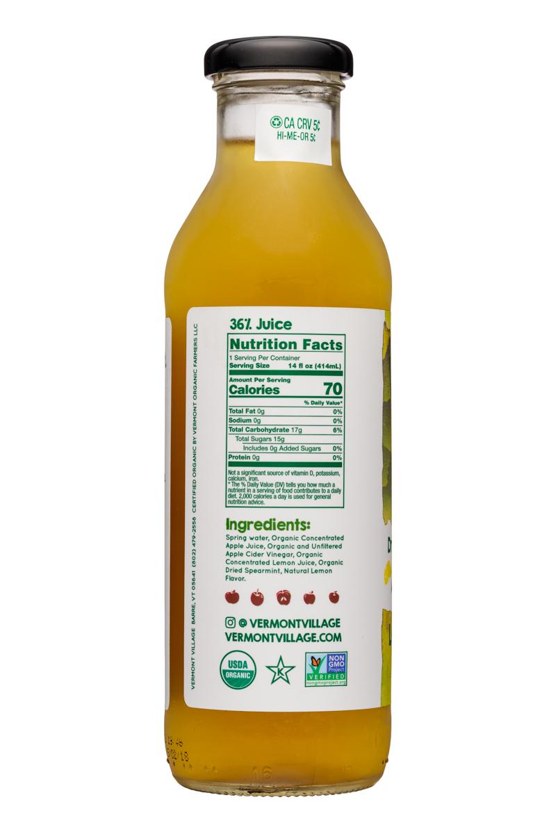 Vermont Village Drinking Vinegar: VermontVillage-14oz-DrinkingVinegar-LemonMint-Facts