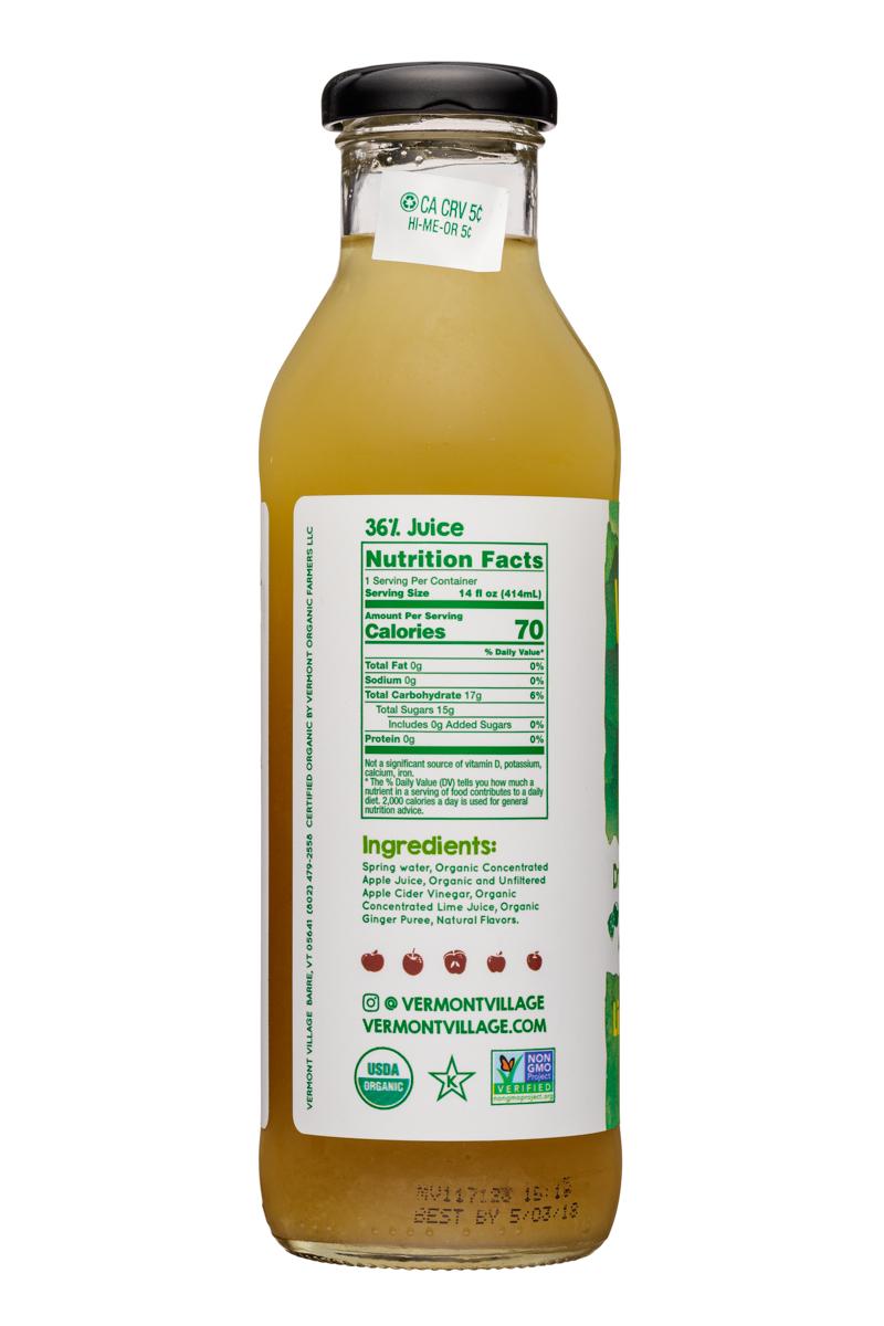 Vermont Village Drinking Vinegar: VermontVillage-14oz-DrinkingVinegar-LimeGinger-Facts