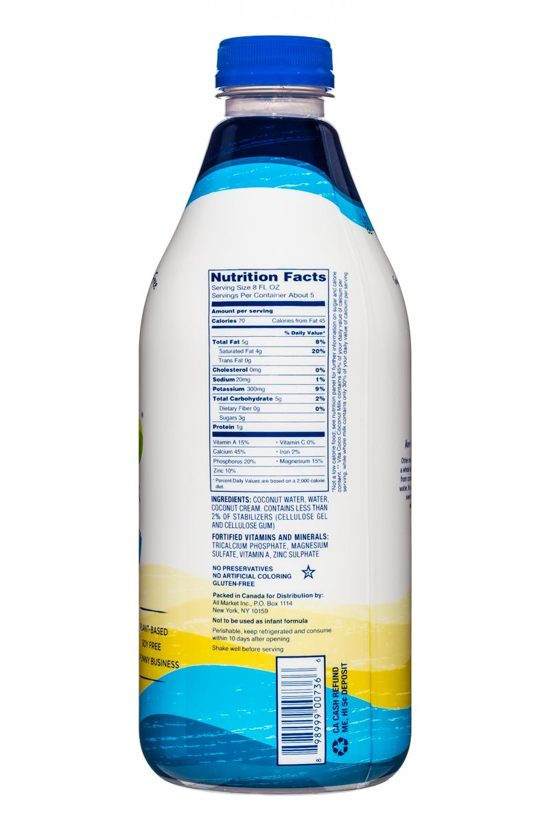 Vita Coco Coconut Water: VitaCoco-CoconutMilk-42oz-OG-Facts