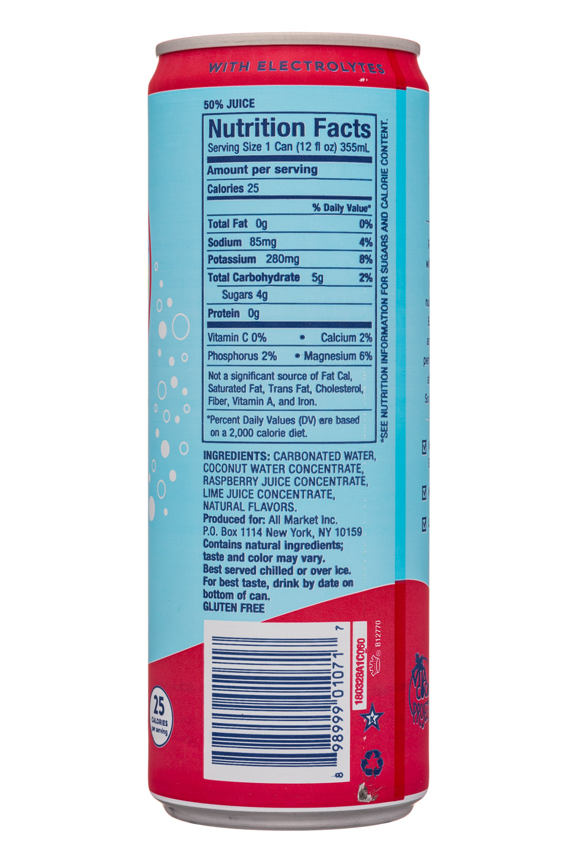 Vita Coco Coconut Water: VitaCoco-12oz-Sparkling-RaspberryLime-Facts