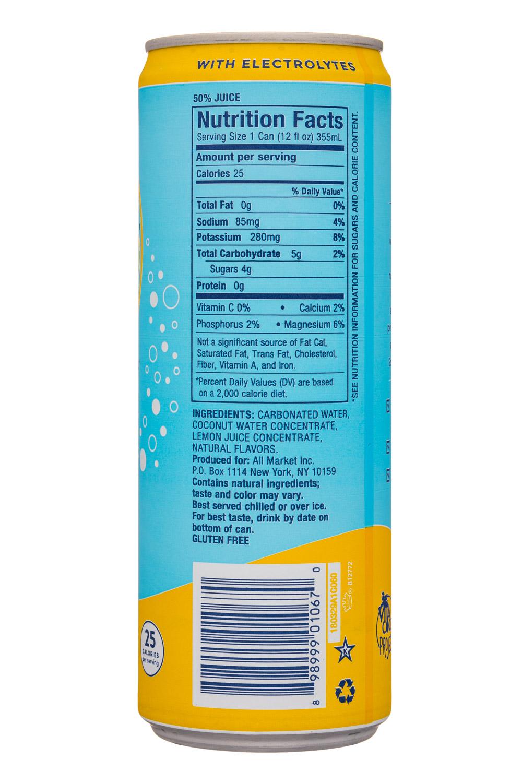 Vita Coco Coconut Water: VitaCoco-12oz-Sparkling-LemonGinger-Facts