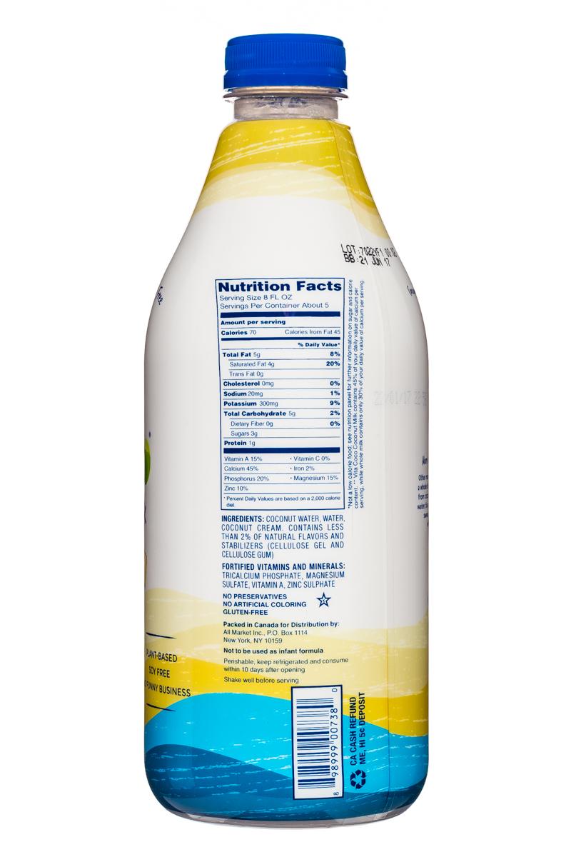 Vita Coco Coconut Water: VitaCoco-CoconutMilk-42oz-Vanilla-Facts