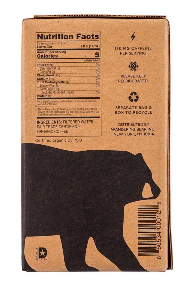 Wandering Bear Cold Brew: WanderingBear-36oz-ColdBrew-Black-Facts