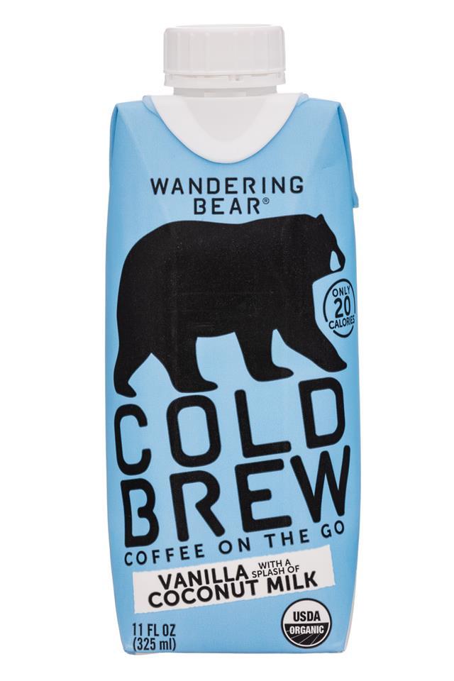 Wandering Bear Cold Brew: WanderingBear-11oz-ColdBrew-VanillaCoconutMilk-Front
