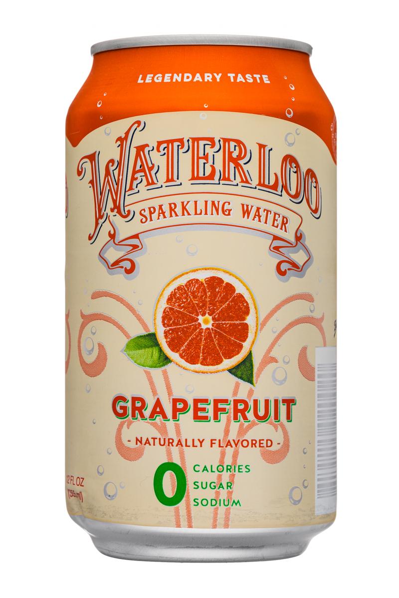 Waterloo Sparkling Water: Waterloo-12oz-SparklingWater-Grapefruit-Front