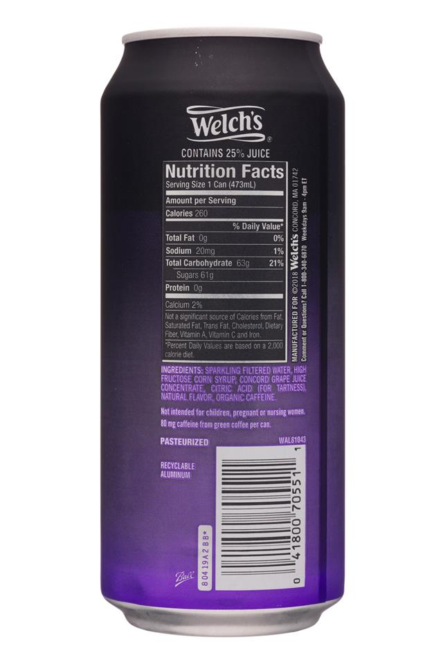 Welch's Sparkling Soda: Welchs-16oz-SparklingEnergy-Grape-Facts