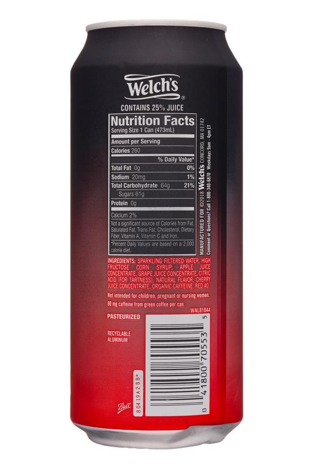 Welch's Sparkling Soda: Welchs-16oz-SparklingEnergy-FruitPunch-Facts