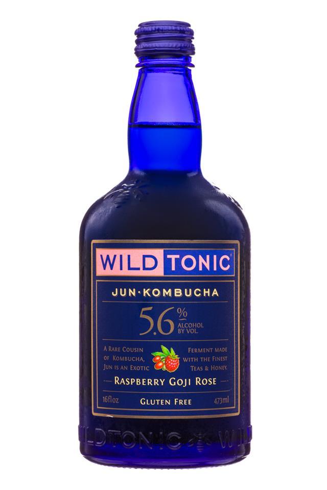 Wild Tonic: WildTonic-JunKombucha-16oz-RaspberryGojiRose-Front