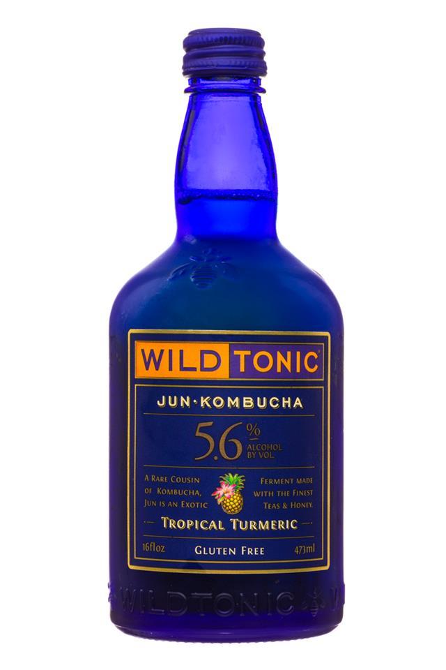 Wild Tonic: WildTonic-JunKombucha-16oz-TropicalTurmeric-Front