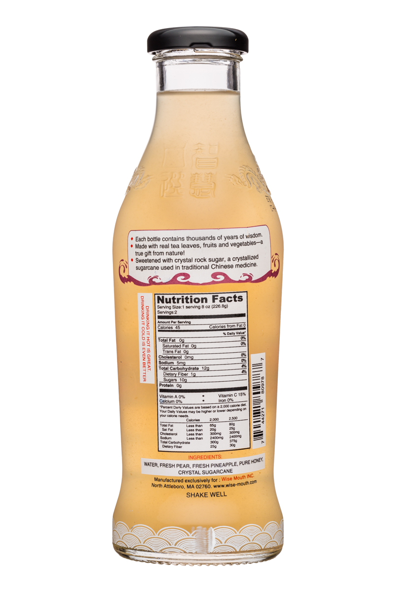 Wise Mouth: WiseMouth-16oz-PearBeverage-Facts