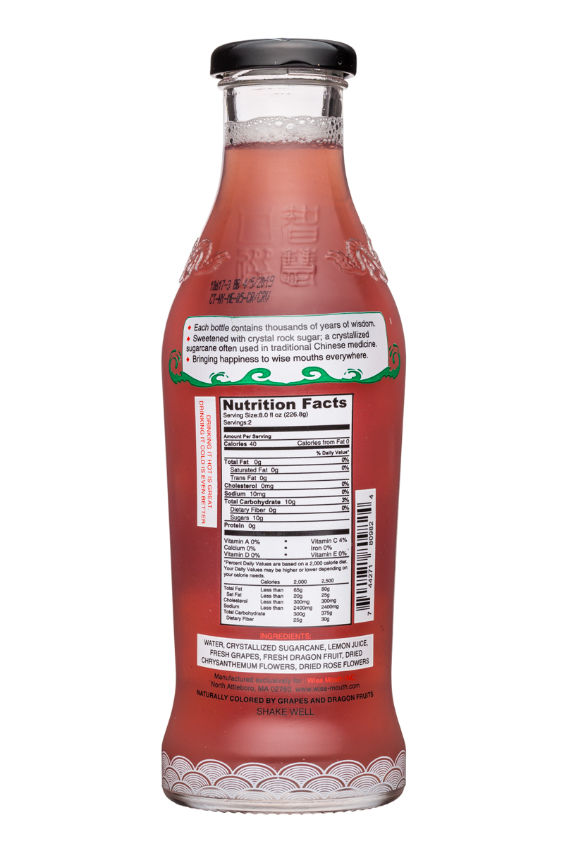 Wise Mouth: WiseMouth-16oz-DragonRoseTea-Facts