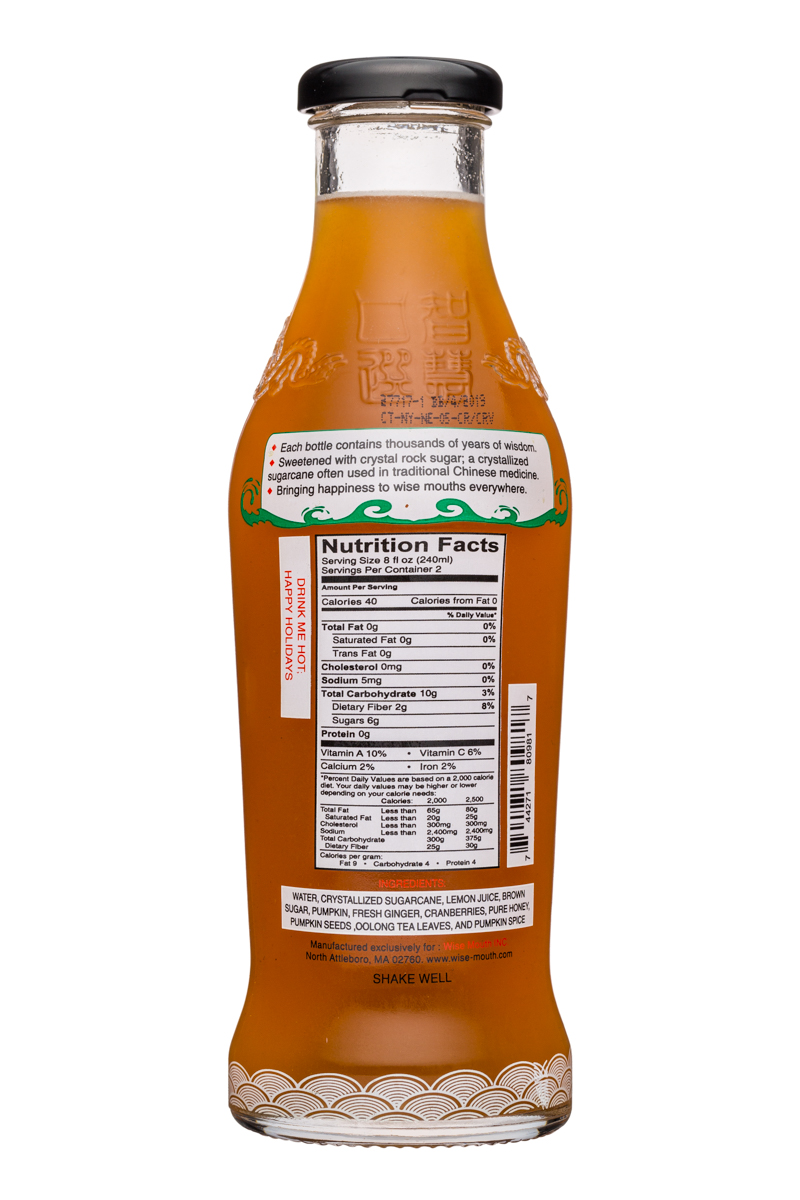 Wise Mouth: WiseMouth-16oz-SpiceFermentedOolongTea-Facts