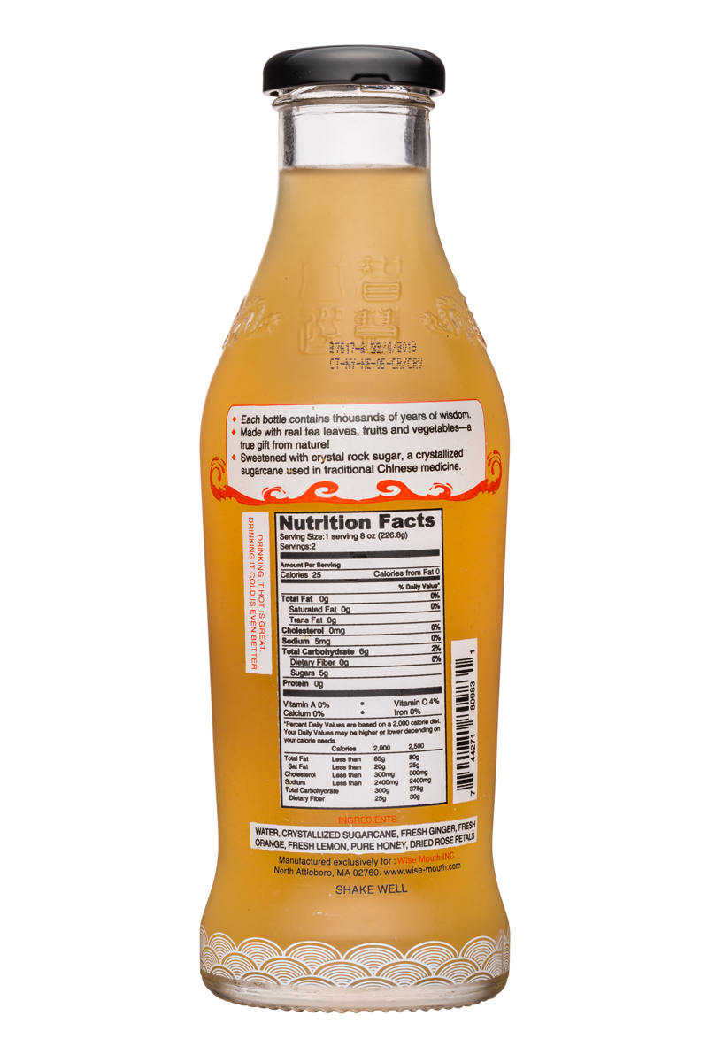 Wise Mouth: WiseMouth-16oz-GingerOrangeTea-Facts