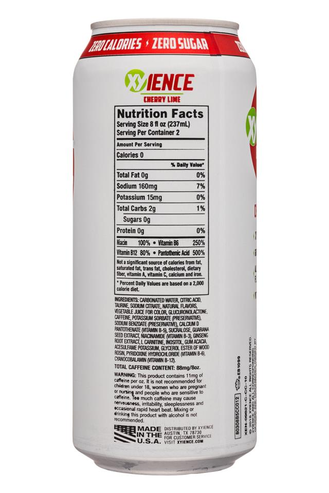 Xyience Energy : XYienceEnergy-16oz-CherryLime-Facts
