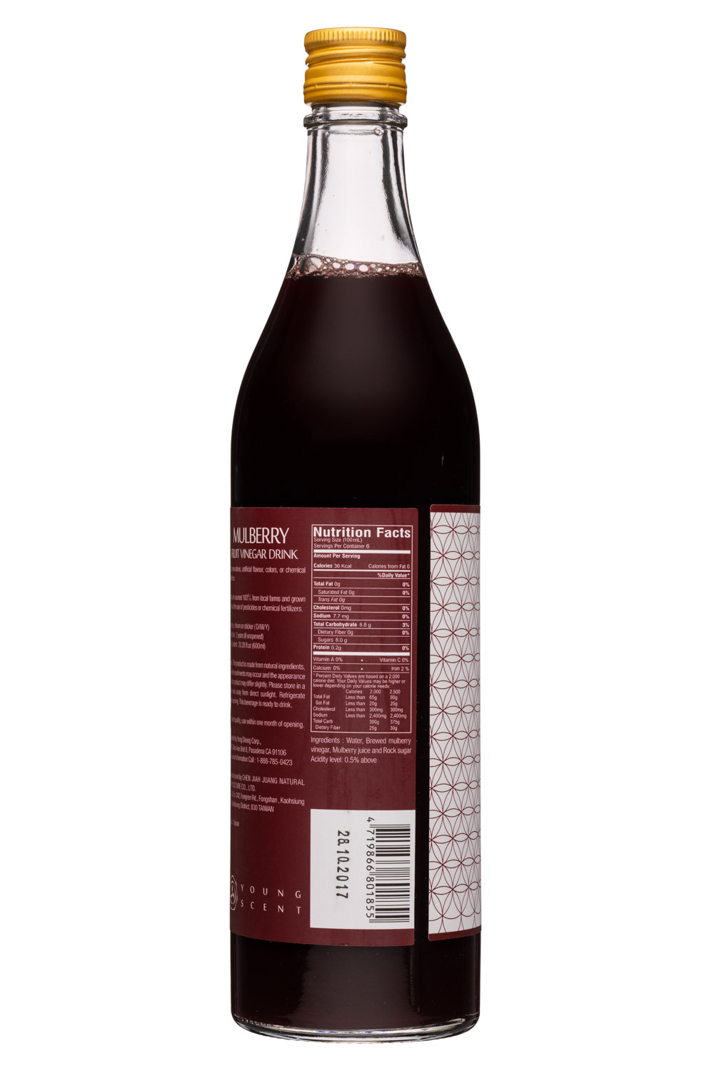 Young Scent: YoungScent-20oz-Mulbery-FruitVinegarDrink-Facts