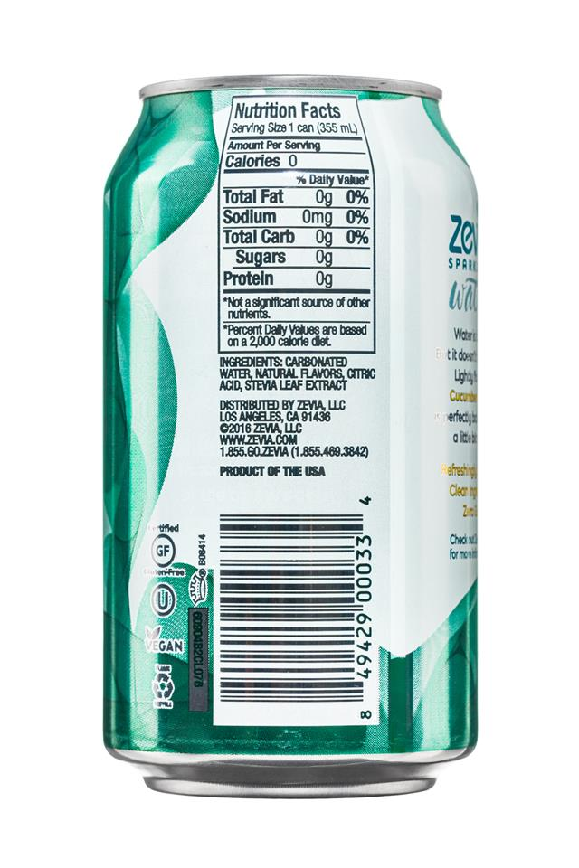 Zevia Sparkling Water: Zevia-12oz-SparklingWater-CucumberLemon-Facts