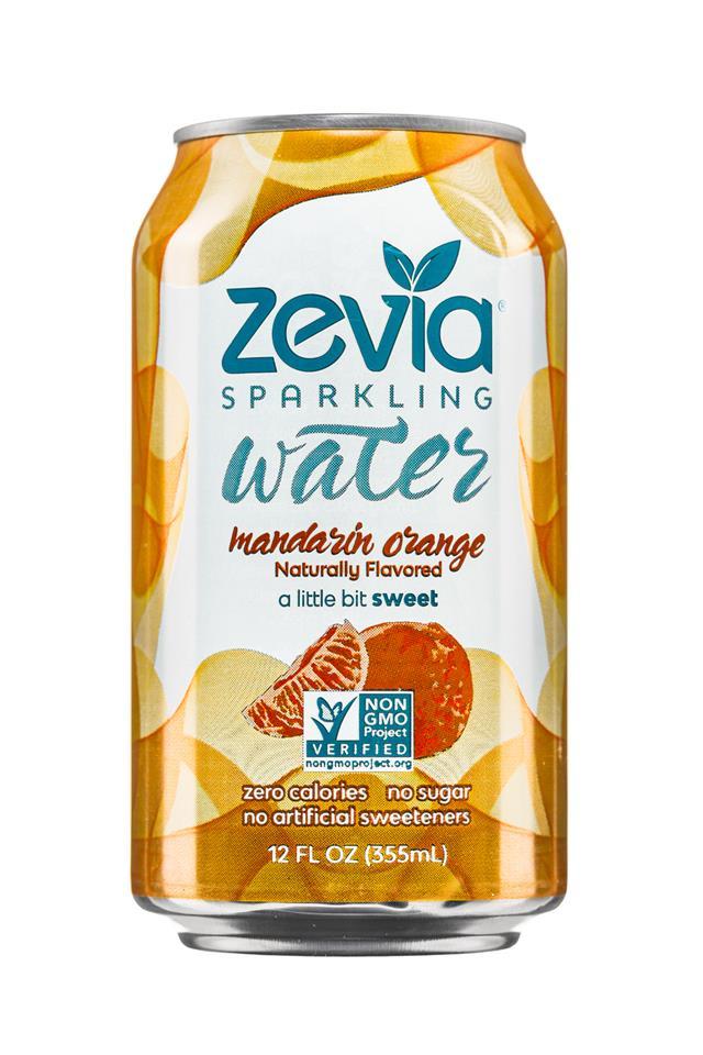 Zevia Sparkling Water: Zevia-12oz-SparklingWater-MandarinOrange-Front