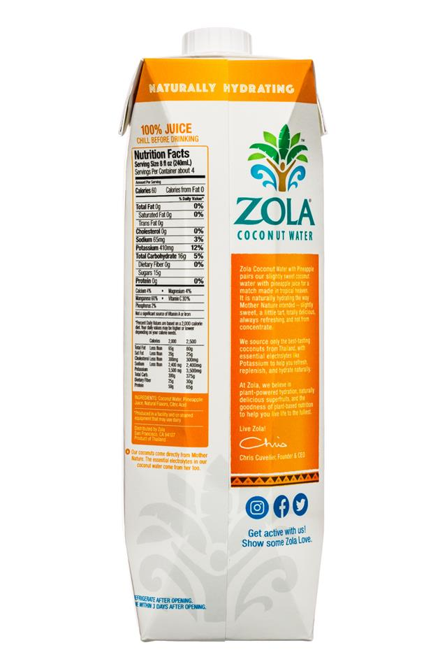Zola Coconut Water: Zola-CoconutWater-1L-Pineapple-Facts