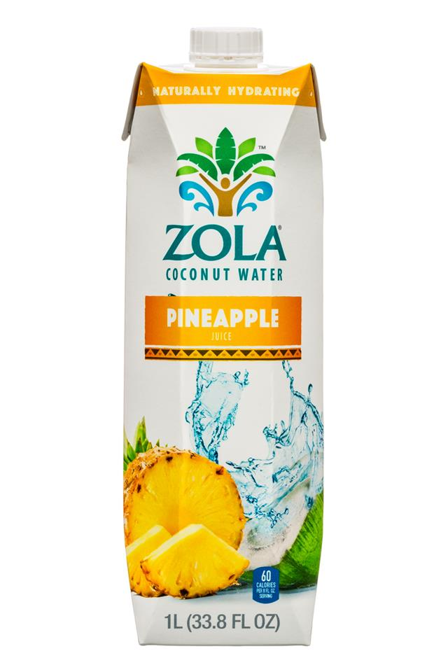 Zola Coconut Water: Zola-CoconutWater-1L-Pineapple-Front