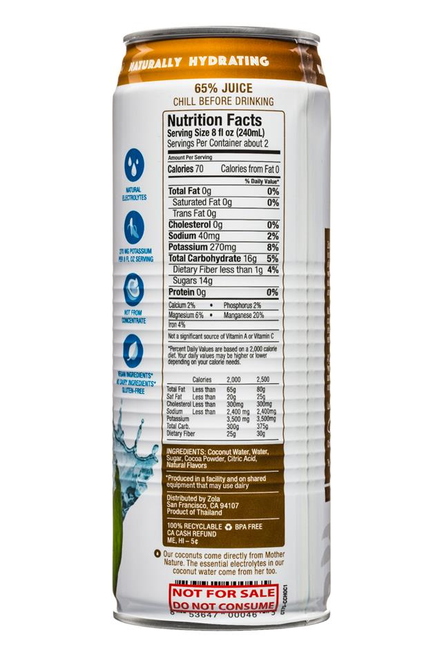 Zola Coconut Water: Zola-CoconutWater-17oz-Choc-Facts