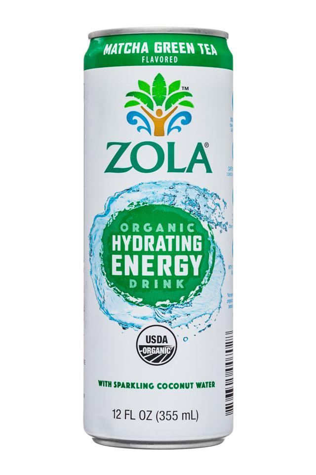 Zola Organic Hydrating Energy Drink: Zola-12oz-OGHydratingEnergy-SparkingCoconut-MatchaGreenTea-Front