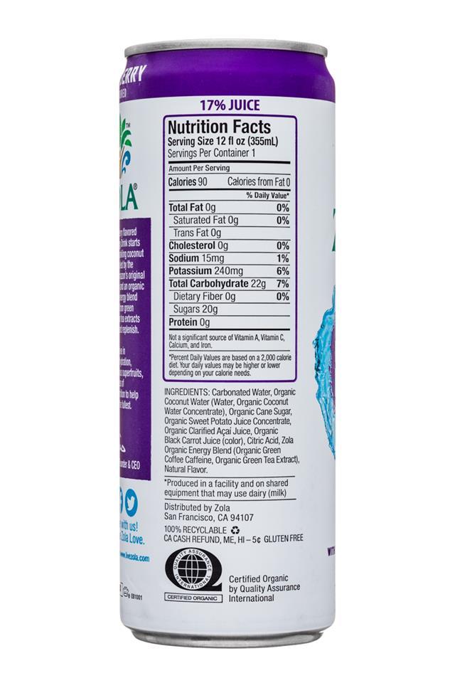 Zola Organic Hydrating Energy Drink: Zola-12oz-OGHydratingEnergy-SparkingCoconut-AcaiBerry-Facts
