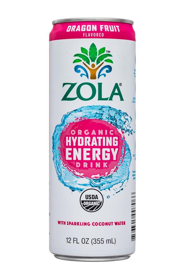 Zola Organic Hydrating Energy Drink: Zola-12oz-OGHydratingEnergy-SparkingCoconut-OragonFruit-Front