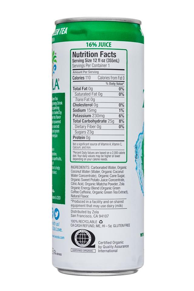 Zola Organic Hydrating Energy Drink: Zola-12oz-OGHydratingEnergy-SparkingCoconut-MatchaGreenTea-Facts
