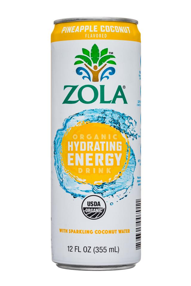 Zola Organic Hydrating Energy Drink: Zola-12oz-OGHydratingEnergy-SparkingCoconut-PineappleCoconut-Front