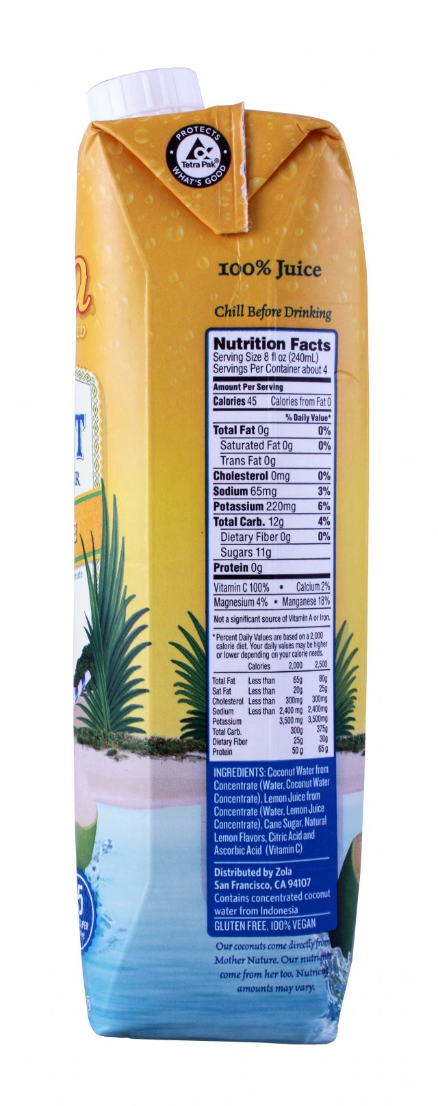 Zola Coconut Water: Zola Lemonade Facts